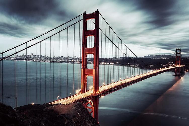 Skleněný Obraz Golden Gate - Tmavé San Francisco