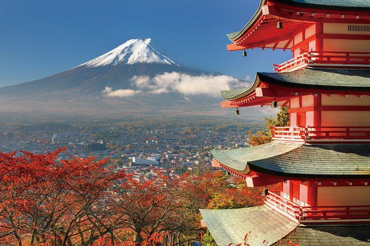 Skleněný Obraz Hora Fudži - Červený dům