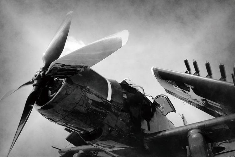 Skleněný Obraz Letadlo - b&w vrtule