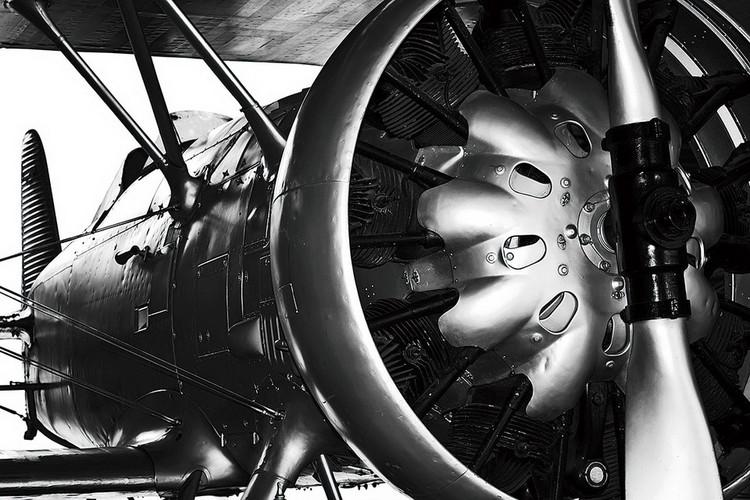 Skleněný Obraz Letadlo - Motor