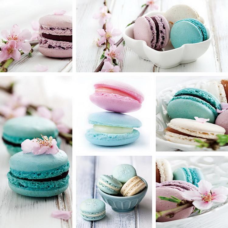 Skleněný Obraz Macaron - Modrá koláž