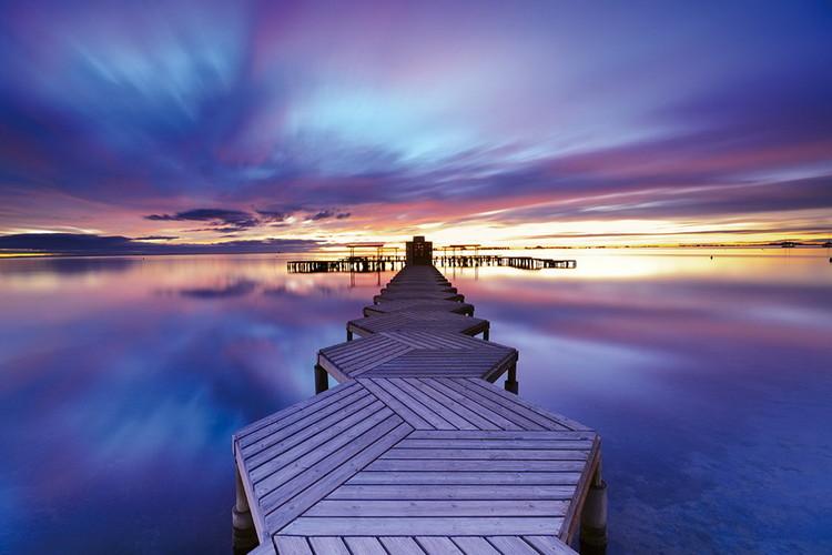 Skleněný Obraz Molo při východu slunce