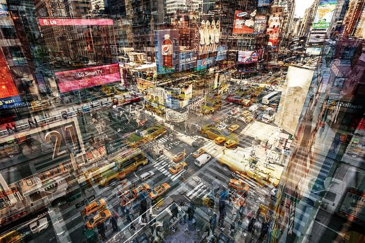 Skleněný Obraz New York - Barevná ulice