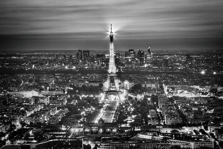 Skleněný Obraz Paříž - b&w Eiffelova věž