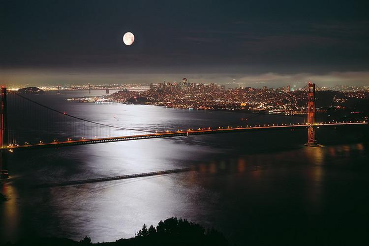 Skleněný Obraz Pohled na San Francisco v noci