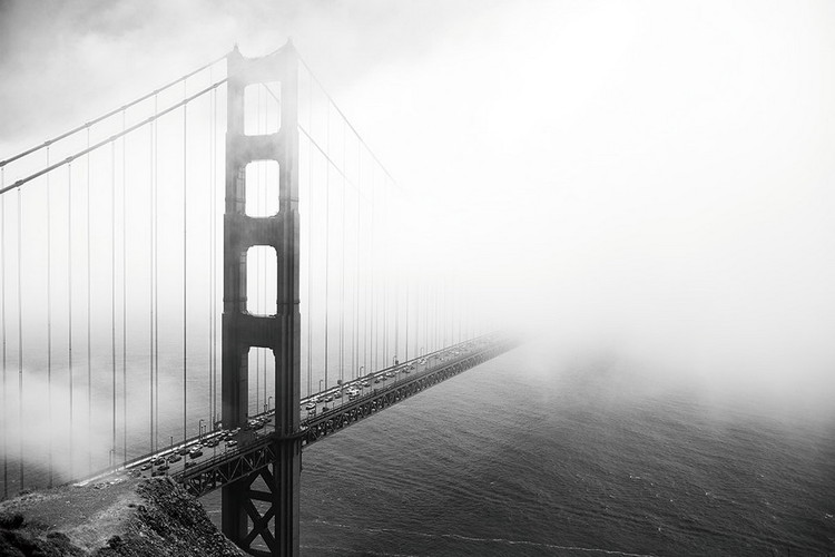 Skleněný Obraz San Francisco - Golden Gate v mlze