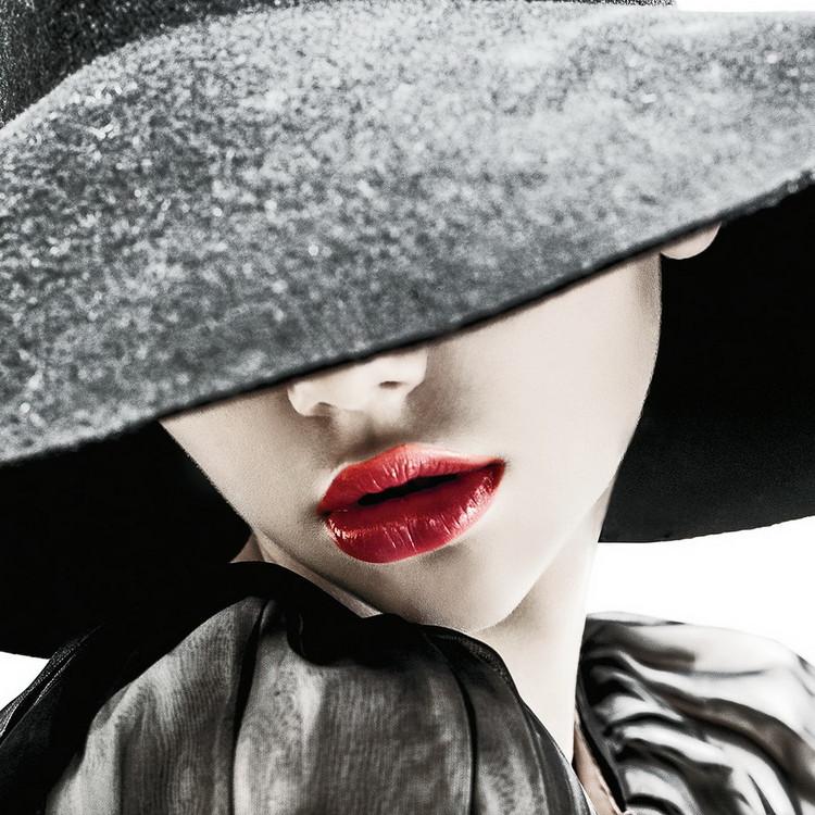 Skleněný Obraz Vášnivá žena - Klobouk