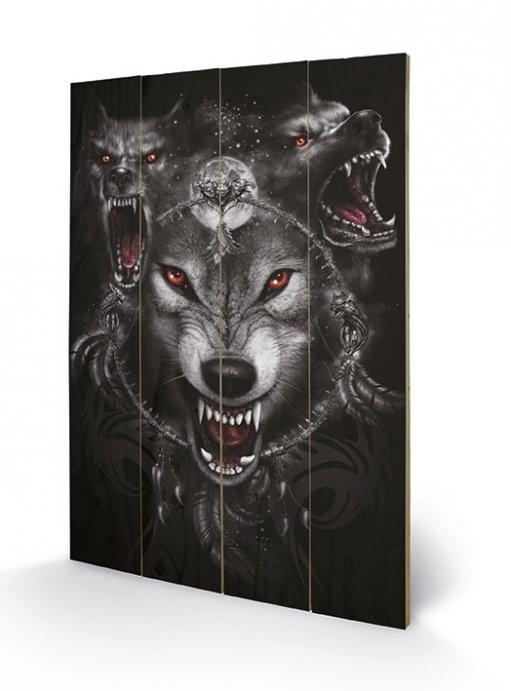 Bild auf Holz SPIRAL - wolf triad