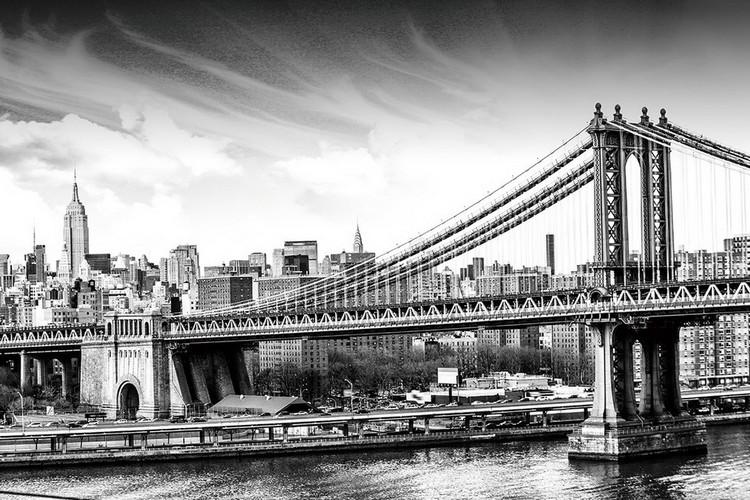 Black and White City Staklena slika
