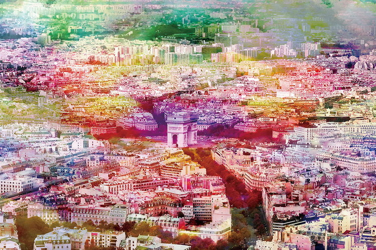 Paris - Colored River Staklena slika