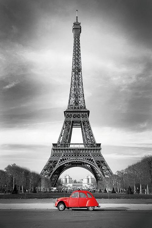 Paris - Red Car Staklena slika