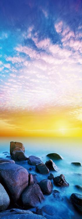 Stones on the Beach at Sunset Staklena slika