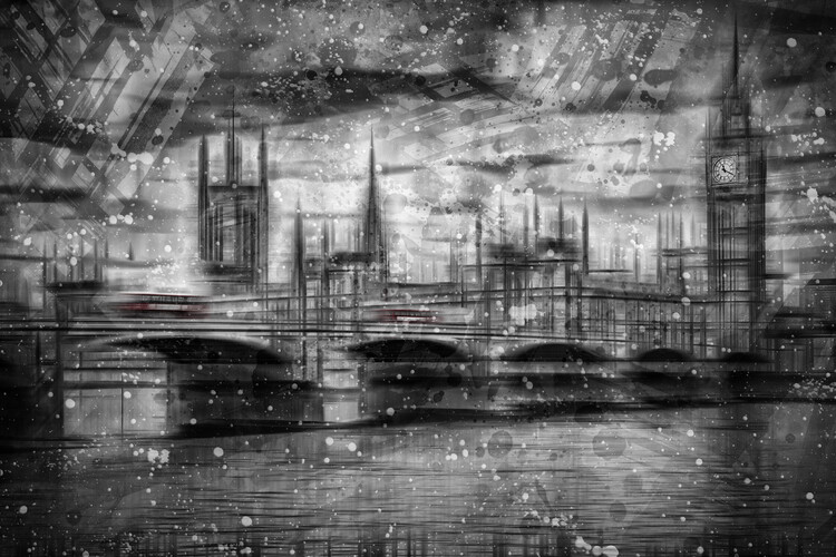 Stampa su Tela City Shapes LONDON Houses of Parliament