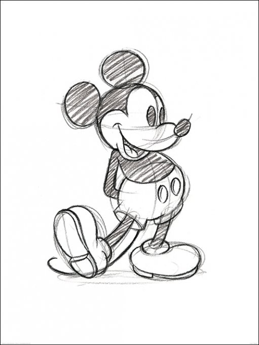 Stampe d'arte Mickey Mouse - Sketched Single