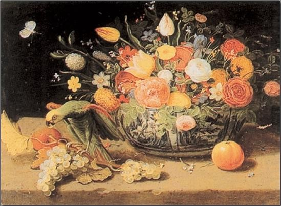 Stampe d'arte Still Life of Flowers and a Parrot
