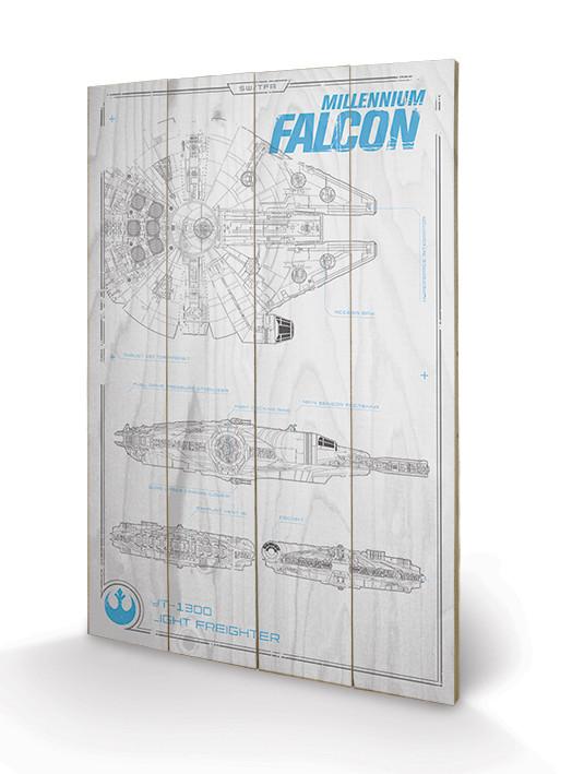 Bild auf Holz Star Wars: Episode VII - Millennium Falcon Plans
