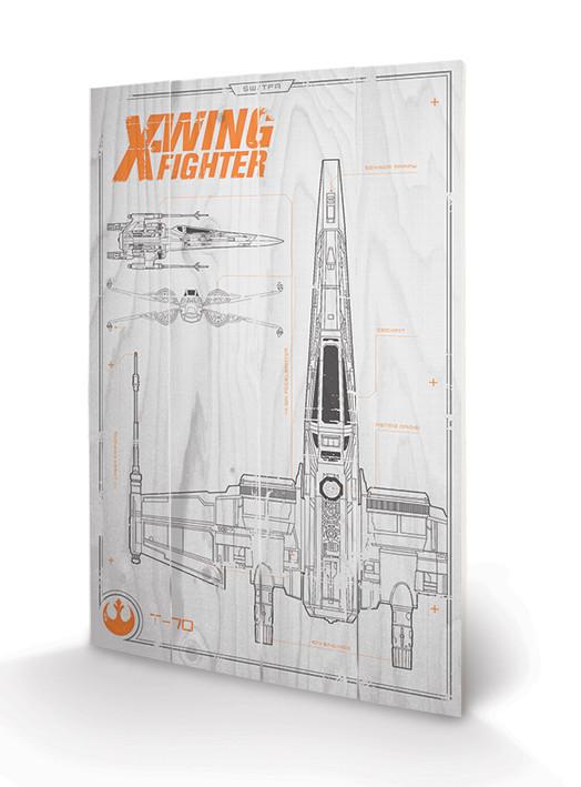 Bild auf Holz Star Wars: Episode VII - X Wing Plans