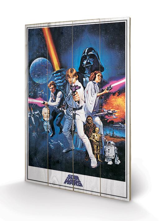 Poster su legno Star Wars Episodio IV: Una nuova speranza - One Sheet