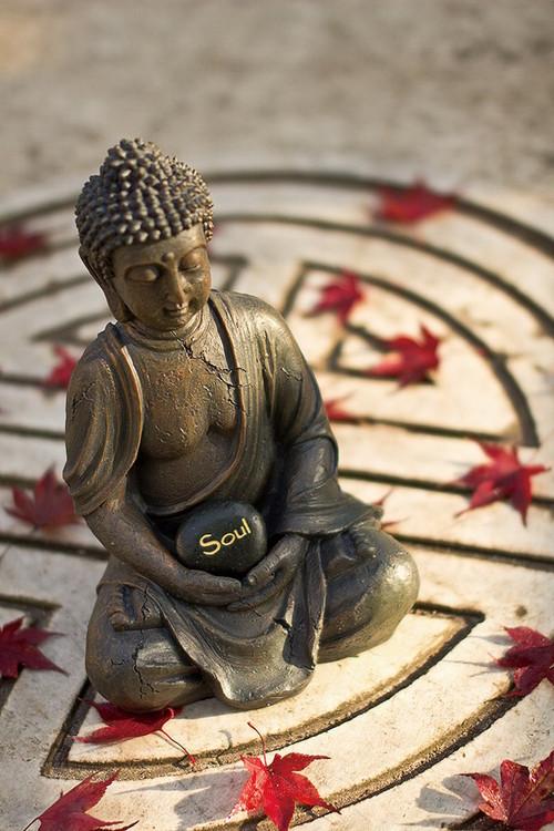 Buddha - Red Lieves Steklena slika