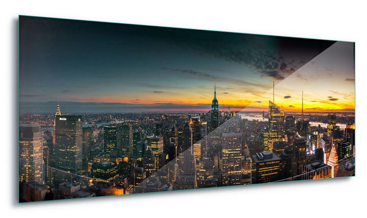 Manhattan Sunset Steklena slika