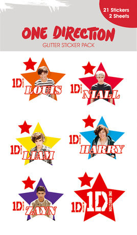ONE DIRECTION - stars with glitter sticker