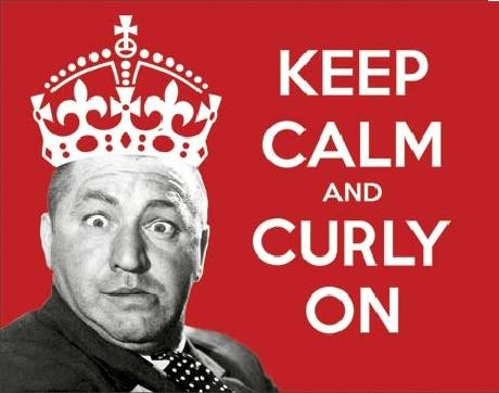 STOOGES - KEEP CALM - Curly On Metalen Wandplaat