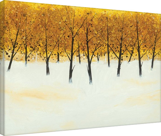 Stampa su Tela Stuart Roy - Yellow Trees on White