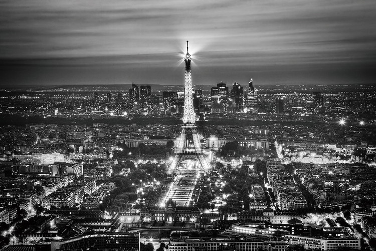 Szklany obraz Paris - Eiffel Tower b&w