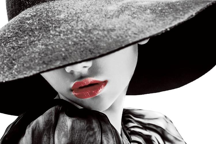 Szklany obraz Passionate Woman - Hat b&w