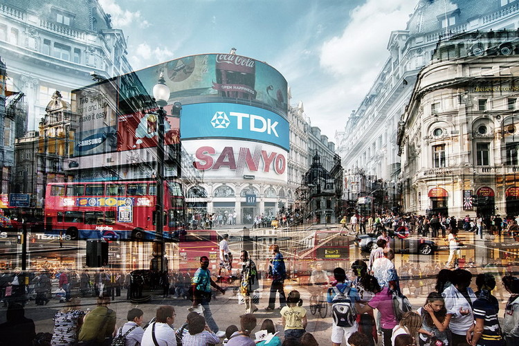 Tableau sur verre London - Picadilly Circus