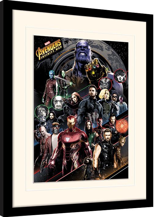 Avengers Infinity War - Character Coloured Bands Poster encadré