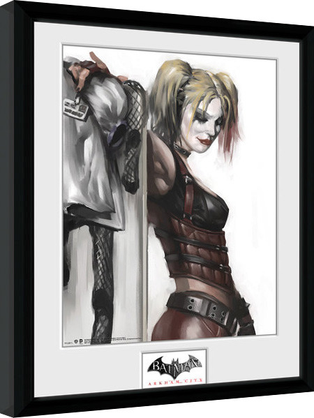 batman arkham city harley quinn poster encadr tableau mural acheter le sur. Black Bedroom Furniture Sets. Home Design Ideas