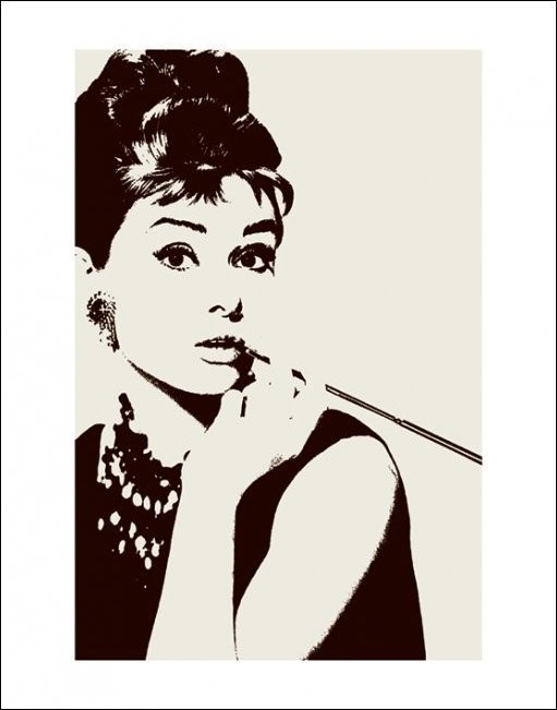 Audrey Hepburn - cigarello  Reproduction d'art