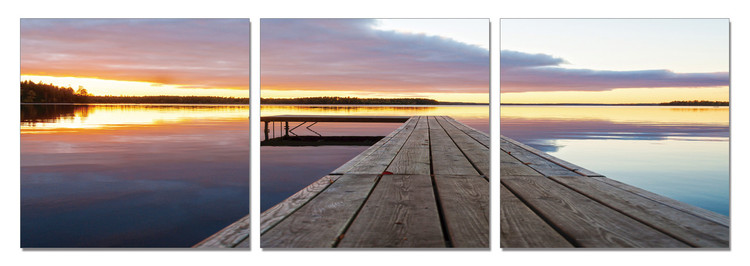 Calm Water - Wooden Jetty Tableau Multi-Toiles
