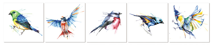 Colored birds Tableau Multi-Toiles
