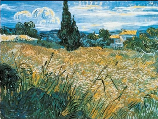 Reproduction d'art Green Wheat Field with Cypress, 1889