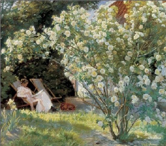 Marie in the Garden (The Roses) Reproduction de Tableau