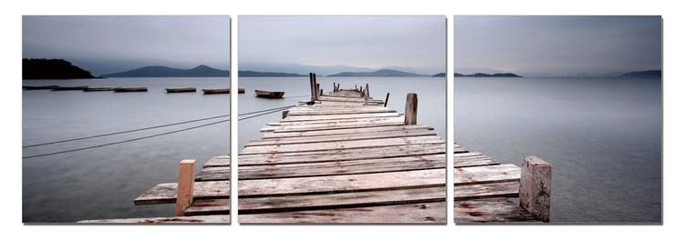 Misty Morning - Wooden Jetty Tableau Multi-Toiles