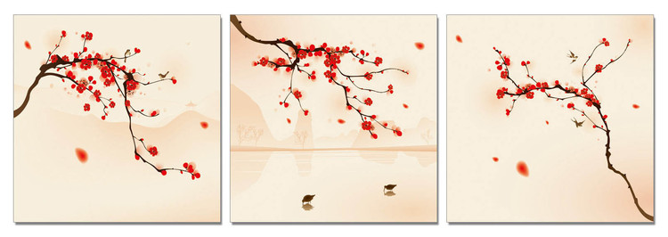 Modern Design - Branches with Blossoms Tableau Multi-Toiles