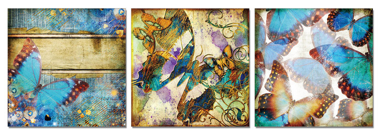 Modern Design - Colorful Butterflies Tableau Multi-Toiles