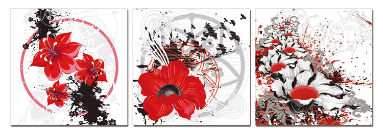Modern design - red flowers Tableau Multi-Toiles