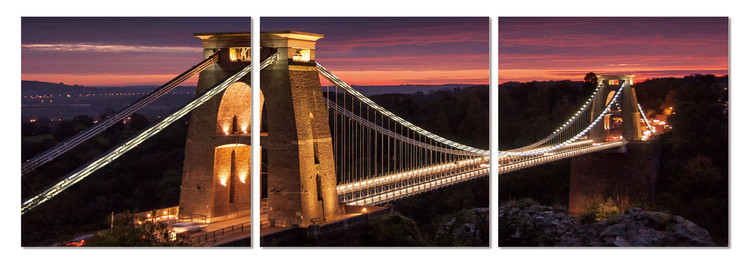 Night panorama with bridge Tableau Multi-Toiles