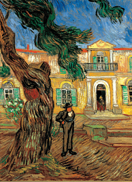 Reproduction d'art Pine Trees with Figure in the Garden of Saint-Paul Hospital, 1889