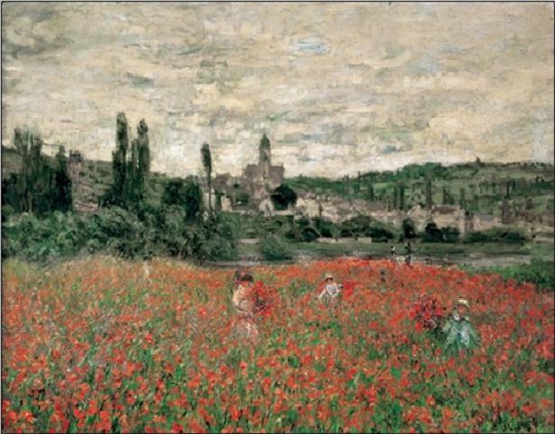 Poppy Field Near Vetheuil Reproduction de Tableau