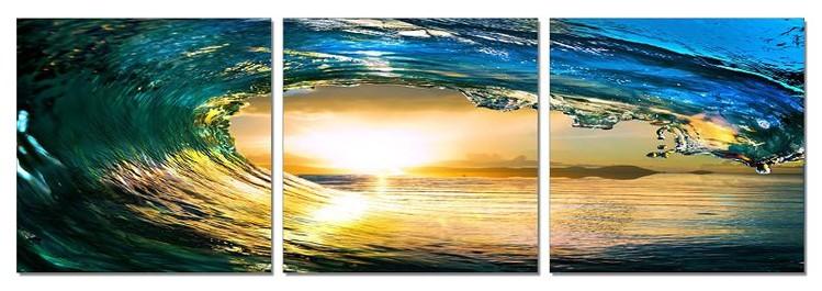 Rushing wave in the sun Tableau Multi-Toiles
