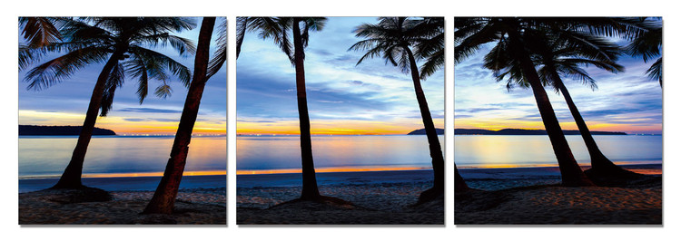 Silhouettes of palm trees on the beach Tableau Multi-Toiles