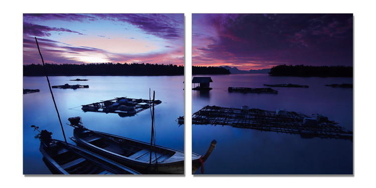 Small boats in the sea at night sky Tableau Multi-Toiles