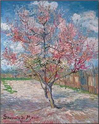 Reproduction d'art Souvenir de Mauve - Pink Peach Tree in Blossom, 1888