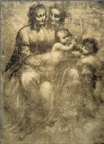 Reproduction d'art The Virgin and Child with St Anne and St John the Baptist - Burlington House Cartoon