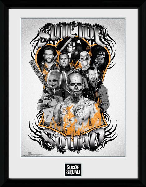 Afiș înrămat Suicide Squad - Group Orange Flame